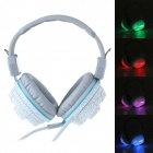 WM-8500L Hi-Fi Dazzle LED Light USB Wired Gaming Headband Headphone w/ Microphone - White