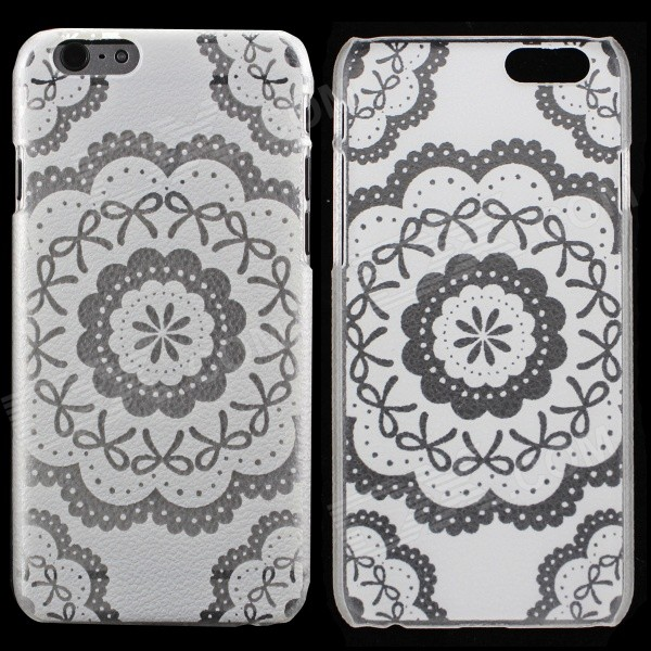 "Flower Pattern PC Back Case for IPHONE 6S 4.7"" - Transparent + White"