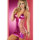 Sexy Lingerie See-through Zurück Kordelzug Tief-V Kleid Set - Deep Pink