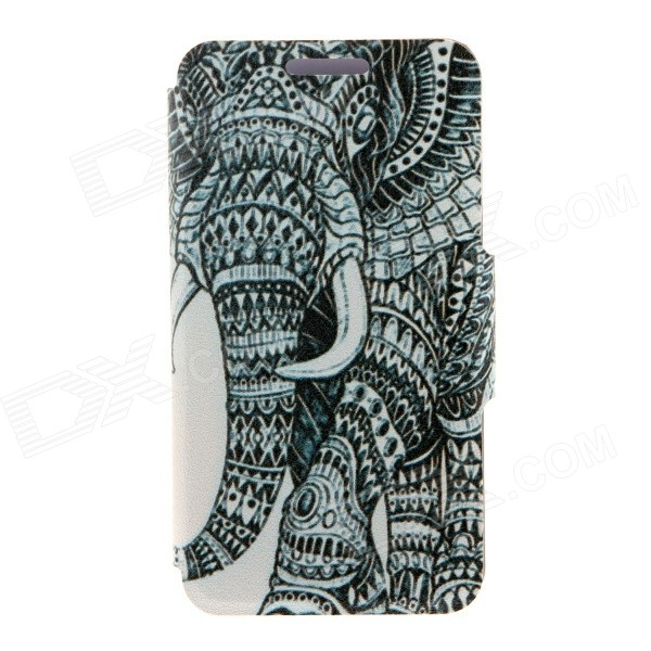 Kinston Elephant Pattern Leather Case for IPHONE 6 - Grey + White
