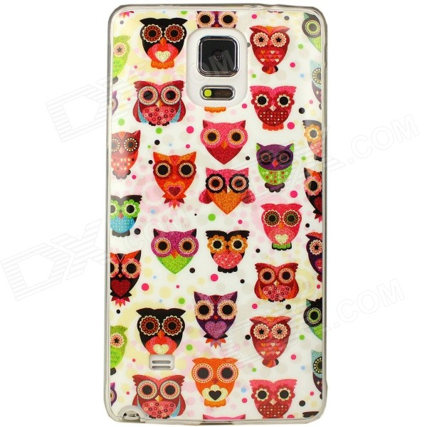 Owl Pattern Case for Samsung Galaxy Note 4 - White + Multi-Colored