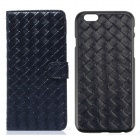 Luxury Woven Pattern 2-in-1 Protective PU Leather + PC Case for IPHONE 6 - Deep Blue