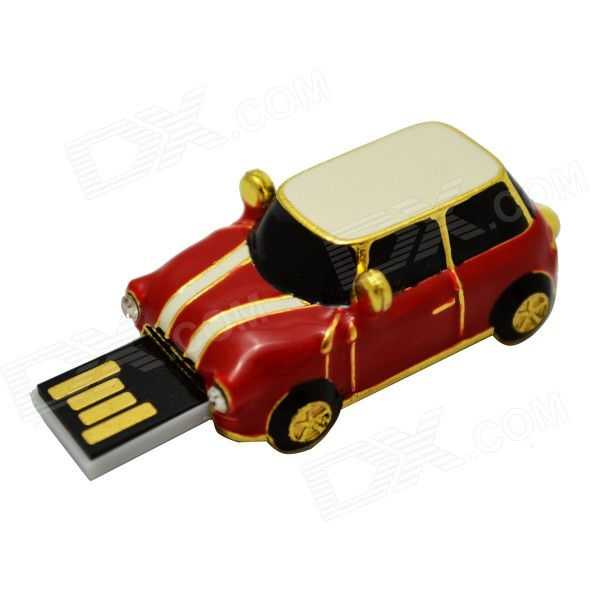 Mini Car Style USB 2.0 Flash Drive - Red + Golden + White (32GB)