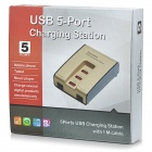 BTY BTY-3005 5-Port USB Charging for Cell Phones / Cameras - Golden