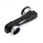 3-en-1 clip-on estilo 0.67X gran angular + fisheye + lente macro fijado para IPHONE 6 plus - plata