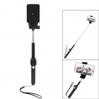 360' Adjustable Handheld Bluetooth Selfie Telescopic Monopod w/ Holder / Strap - Black
