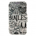 "Kinston ""THE BEATLES"" Pattern PU Leather Flip Open Case w/ Stand for IPHONE 6 - White + Black"