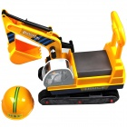 Oversized Children / Kids Ride-on Caterpillar Excavator Riding Toy w/ Helmet - Yellow + Multicolored