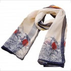 Women's Unique Rural Landscape Style Thin Chiffon Shawl Scarf - Red