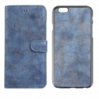 """Frosted PU Leather Case w/ Card Slot for IPHONE 6 Plus 5.5"""" - Sapphire"""