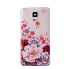 Embossed Pattern Plastic Battery Back Cover for Samsung Galaxy Note 4 - Light Pink + Multicolor