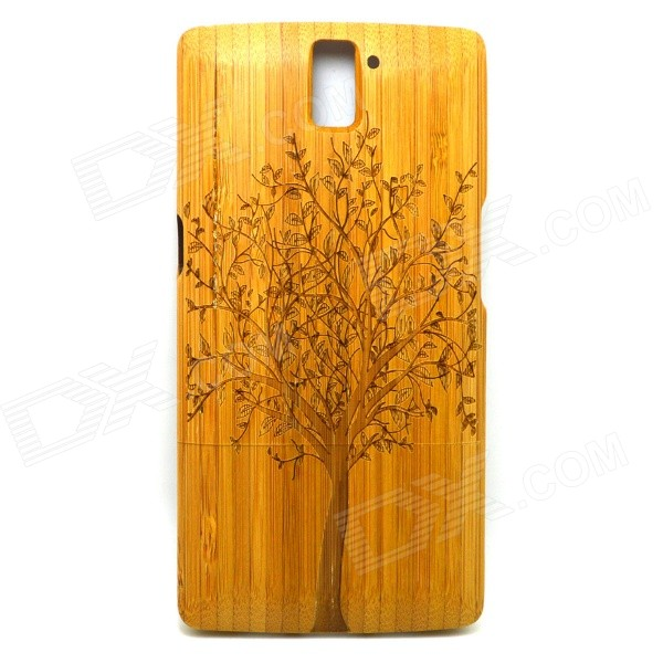 Big Tree Pattern Detachable Protective Bamboo Back Case for Oneplus One - Yellow
