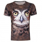 XINGLONG 3D Printing Owl Motifs Short-sleeved T-shirt - Brown + Multi-Colored (Size XL)