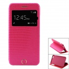 Crocodile Pattern PU Leather Flip Open Case w/ View Window / Stand for IPHONE 6 PLUS - Deep Pink