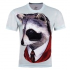 XINGLONG 3D Raccoon Pattern Short-sleeved T-shirt - Light Grey + Multi-Colored (Size XXL)