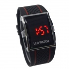 HY-2 Men's Fashionable Silicone Band Digital Wrist Watch w/ LED Red Backlight - Black (1 x CR2016)