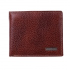 KP271BOY Men's High-Quality Top Layer Cow Leather Wallet w/ Money / Photo / Card Slots - Brown Red
