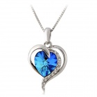 Rshow Elegant Heart-shaped Rhinestone-studded Pendant Necklace - White + Cobalt Blue