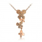 Rshow Stylish Four Butterflies Pattern Rhinestone-studded Pendant Necklace - Golden