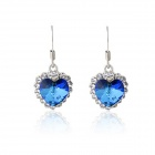 Rshow 18K RGP Heart-Shaped Sapphire Rhinestone-studded Pendant Earrings - Silver + Blue (Pair)