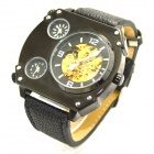 XLD-166 Men's Stylish PU Leather Band Analog Self-Winding Mechanical Wrist Watch - Black