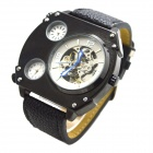 XLD-166 Men's Stylish PU Leather Band Analog Self-Winding Mechanical Wrist Watch - Black + Silver