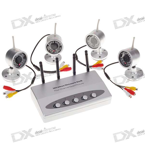 2.4GHz 4-CH Wireless Surveillance Security CMOS Camera w/ Night Vision + Microphone (4*Cameras-Set)
