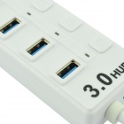 HUB303 Portable High Speed 5.0Gbps USB 3.0 4-Port Hub w/ Switch / Indicator - White