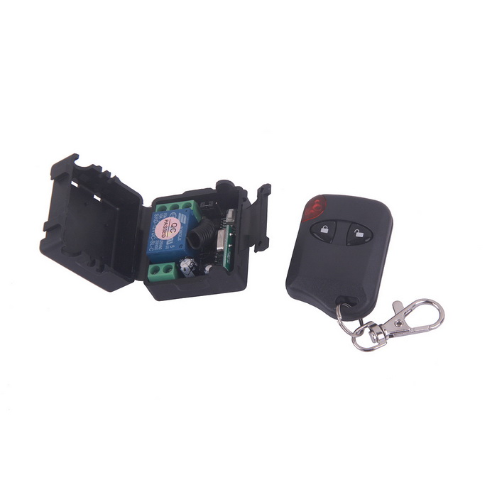 ZnDiy-BRY 12V 1CH Wireless Remote Control Switch w/ 2-Button Controllers - Black