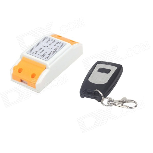 ZnDiy-BRY 220V 1CH 1-Button Remote Control Switch - White + BlackTransmitters &amp; Receivers Module<br>Form  ColorWhite + Black + Multi-ColoredModelZBYB4Quantity1 DX.PCM.Model.AttributeModel.UnitMaterialPVC + PlasticFrequency315MHzWorking Voltage   220 DX.PCM.Model.AttributeModel.UnitEffective Range50mEnglish Manual / SpecNoOther FeaturesMaximum load: 1500WPacking List1 x Remote control switch1 x Controller (1 x 23A/12V battery)<br>