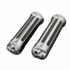 Aluminum + Plastic Skull Style Motorcycle Handlebar Grip Cover for Harley - Black + Silver (2pcs)