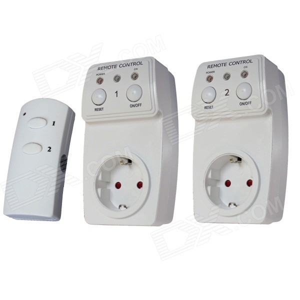 TS-831-2 EU Wireless Remote Control AC Power Outlet Plug Switches - White