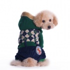Cool Grid Pattern British Style Thickened Cotton Jumpsuit w/ Hoodie for Pet Dog - Navy (Size S)