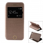 Snakeskin Pattern PU Leather Flip Open Case w/ View Window / Auto Sleep for IPHONE 6 - Grayish Brown