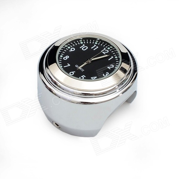 Universal Motorcycle Mounted Alloy Analog Quartz Watch - Silver