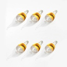 E14 3W 270lm 6500K 3-LED White Light Non-Dimmable Candle Lamp Bulb - Golden (AC 85~265V / 6 PCS)