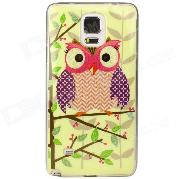 Owl Pattern Back Case for Samsung Galaxy Note 4 - Light Yellow