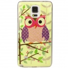 Shimmering Owl Pattern Protective TPU Back Case for Samsung Galaxy Note 4 - Light Yellow