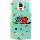 Shimmering Owl Pattern Protective TPU Back Case for Samsung Galaxy Note 4 - Cyan + Multi-Colored