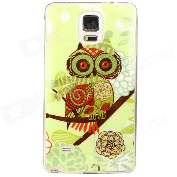 Owl Pattern Back Case para Samsung Galaxy Note 4 - Verde + Oro