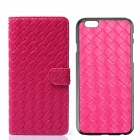 Luxury Woven Pattern 2-in-1 Protective PU Leather + PC Case for IPHONE 6 - Deep Pink