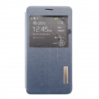 Ultra-thin PU + TPU Flip-open Case w/ Stand / Display Window for Samsung Galaxy Note 4 - Blue