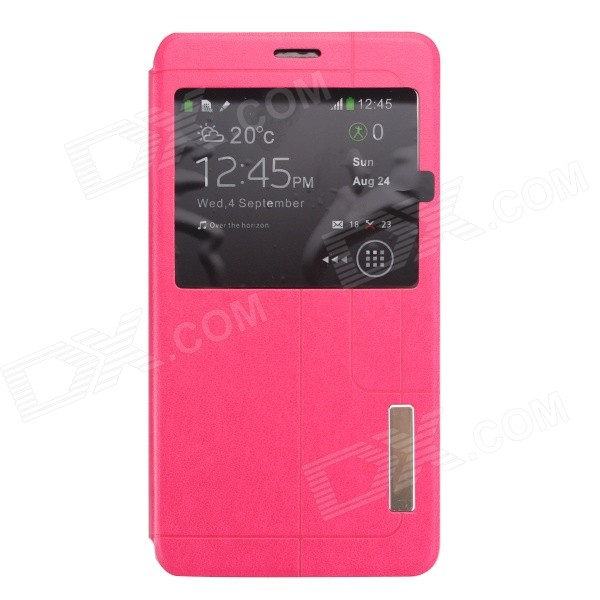 PU + TPU Flip-open Case for Samsung Galaxy Note 4 - Deep Pink