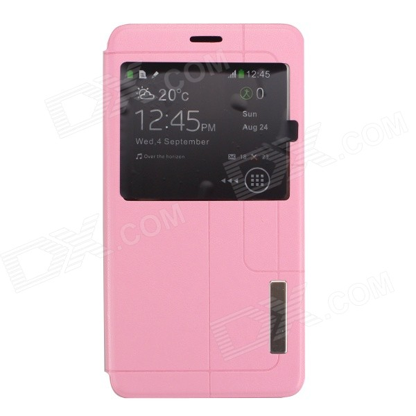 Ultra-thin PU + TPU Flip-open Case for Samsung Galaxy Note 4 - Pink