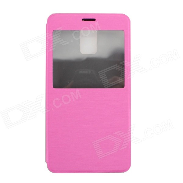 Ultra-thin Flip-Open PU Case w/ Stand / Display Window for Samsung Galaxy Note 4 - Deep Pink