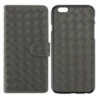 Luxury Woven Pattern 2-in-1 Protective PU Leather + PC Case for IPHONE 6 - Grey