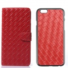 Luxury Woven Pattern 2-in-1 Protective PU Leather + PC Case for IPHONE 6 - Red