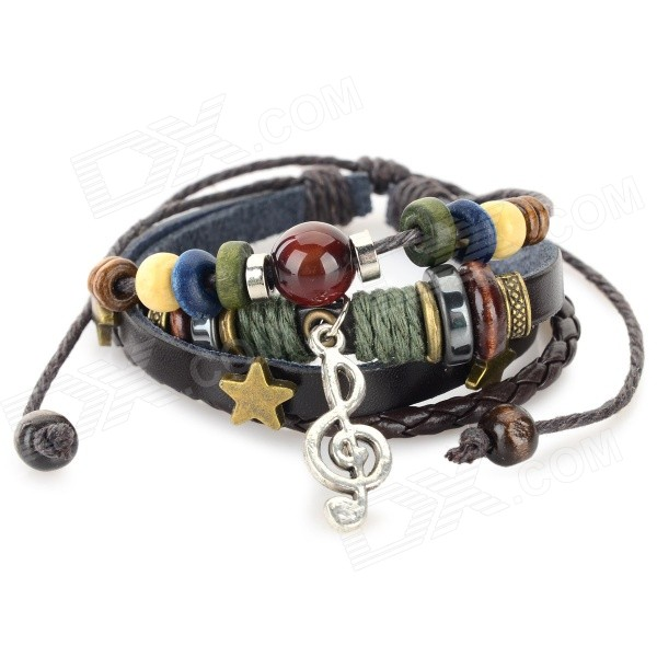 B01328 Music Note Ornament Leather Bracelet - BlackBracelets<br>Form  ColorBlack + DrabModelB01328Quantity1 DX.PCM.Model.AttributeModel.UnitShade Of ColorBlackMaterialLeatherGenderUnisexSuitable forAdultsDiameter/Size6cmBracelet Length17 DX.PCM.Model.AttributeModel.UnitBracelet Width6 DX.PCM.Model.AttributeModel.UnitPacking List1 x Bracelet<br>
