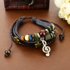 B01328 Music Note Ornament Leather Bracelet - Black