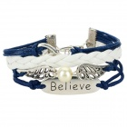 IB515 Fashion Wings Ornament Leather Bracelet - Sapphire Blue + Silver